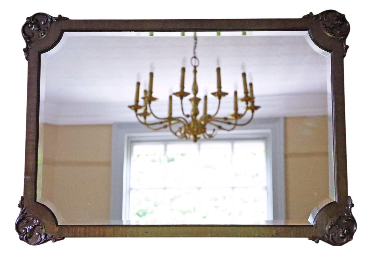 Antique Mahogany Overmantle Or Wall Mirror 1910s For Sale