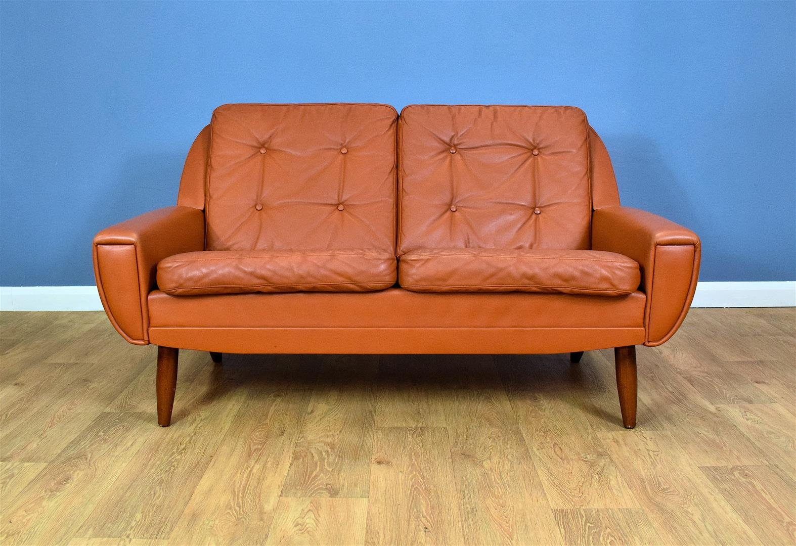 Mid Century Danish Tan Leather 2 Seater Sofa 1960s