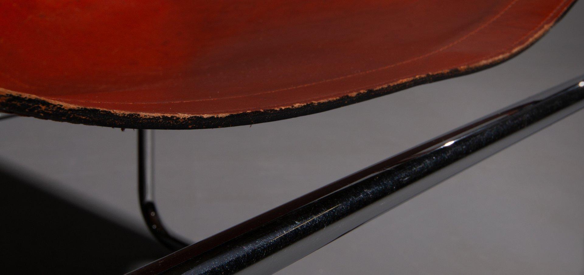 Vintage Stuhl Aus Rotbraunem Leder & Stahlrohr 1960er Bei