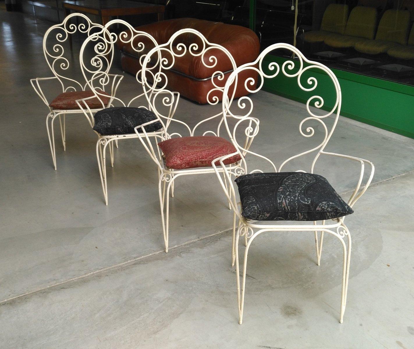 Sedie da giardino vintage in ferro laccato, anni '60, set ...