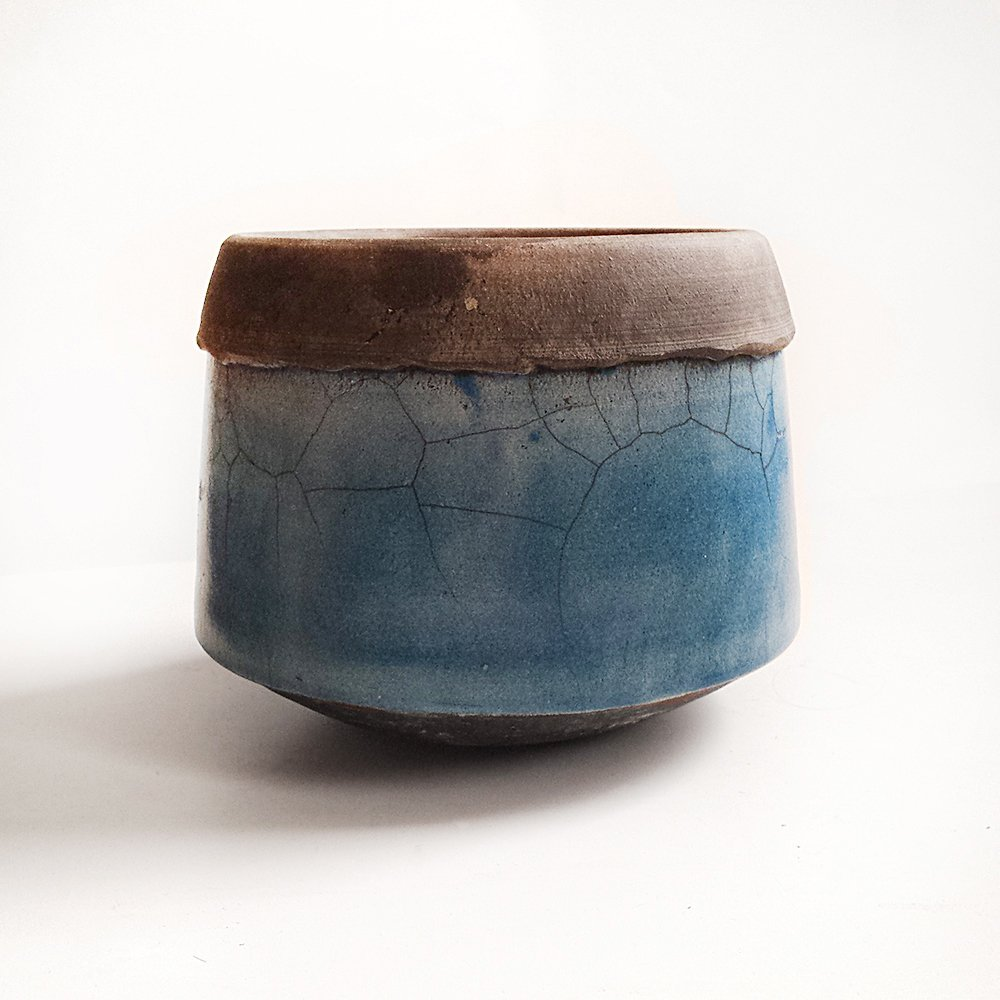 Modern Abstract Raku Pottery Plate