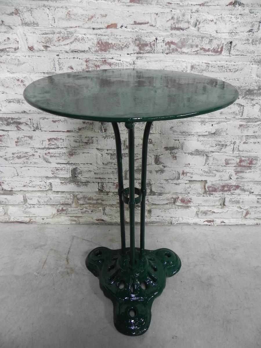 Tavolo Da Bistro Vintage In Acciaio Con Base In Ghisa In Vendita Su Pamono