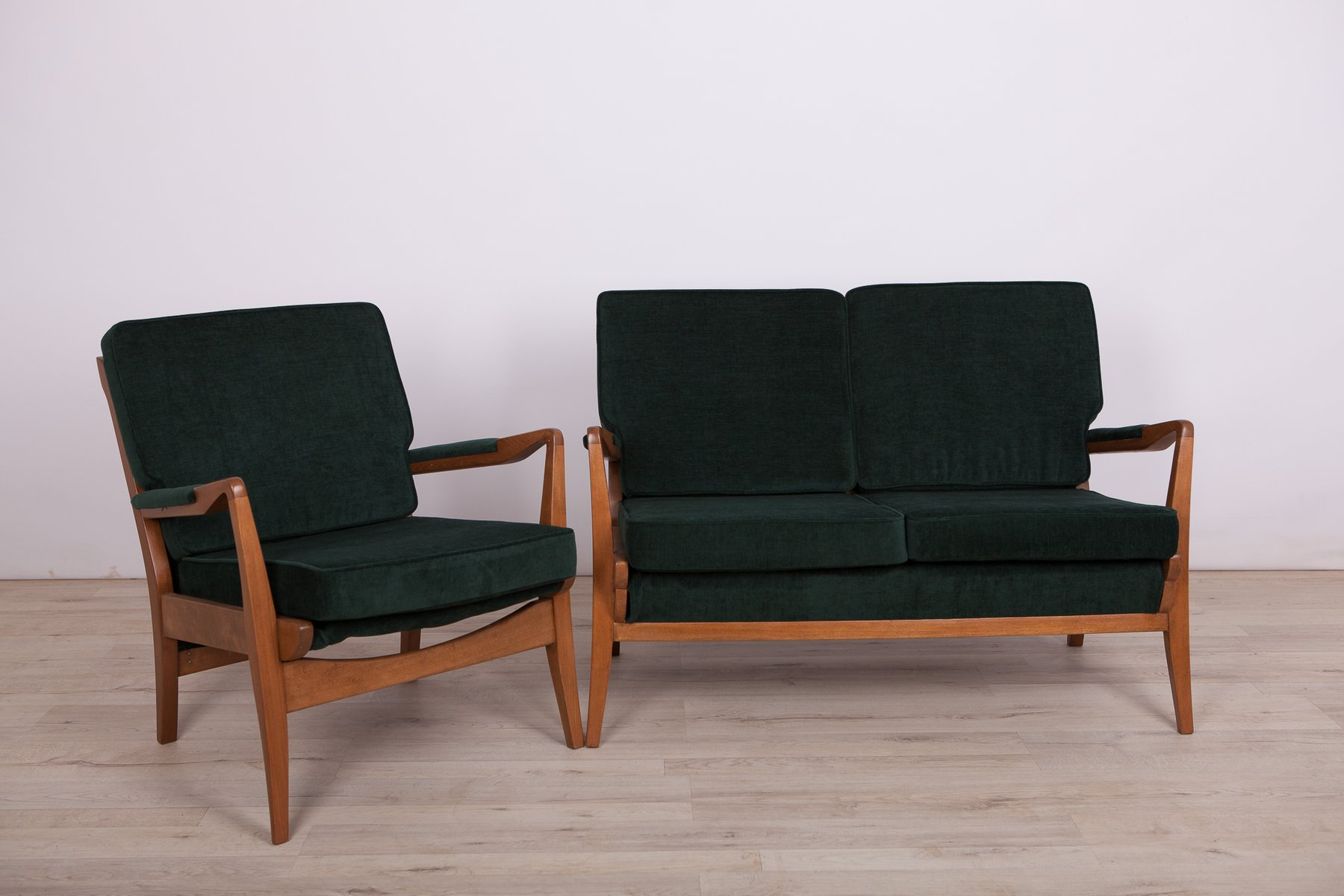 green sofa and armchair set from cintique 1960s