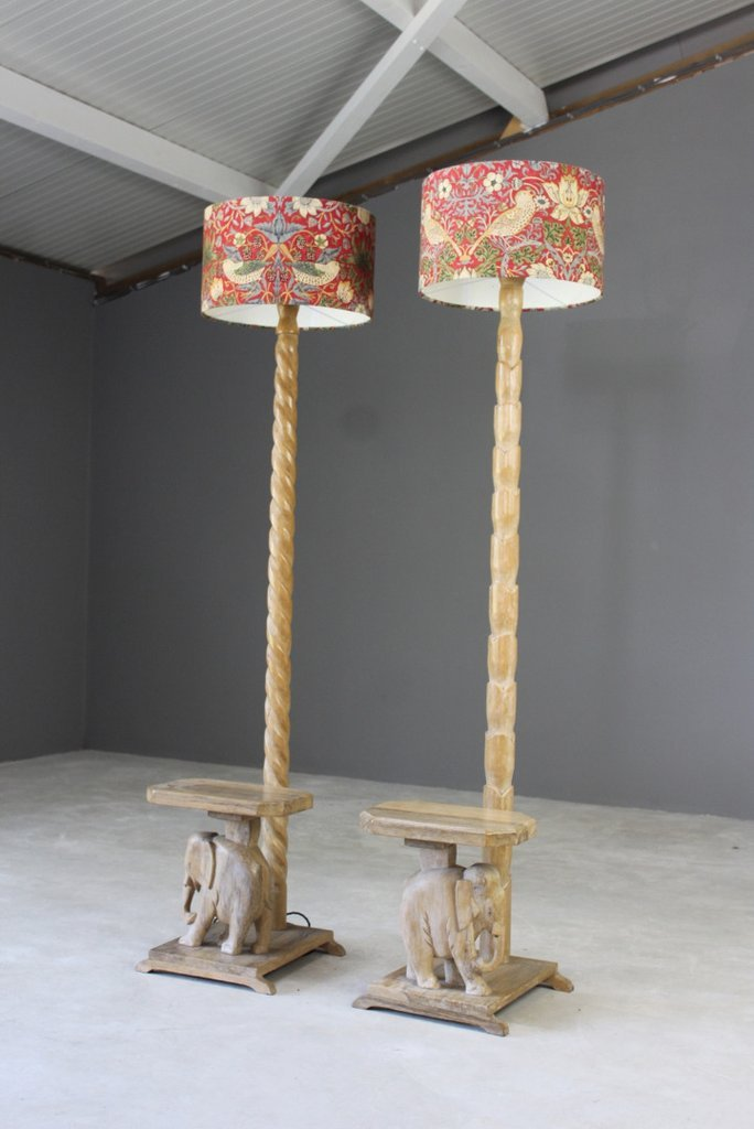 Rosewood Elephant Floor Lamps, 1930s, Set of 2