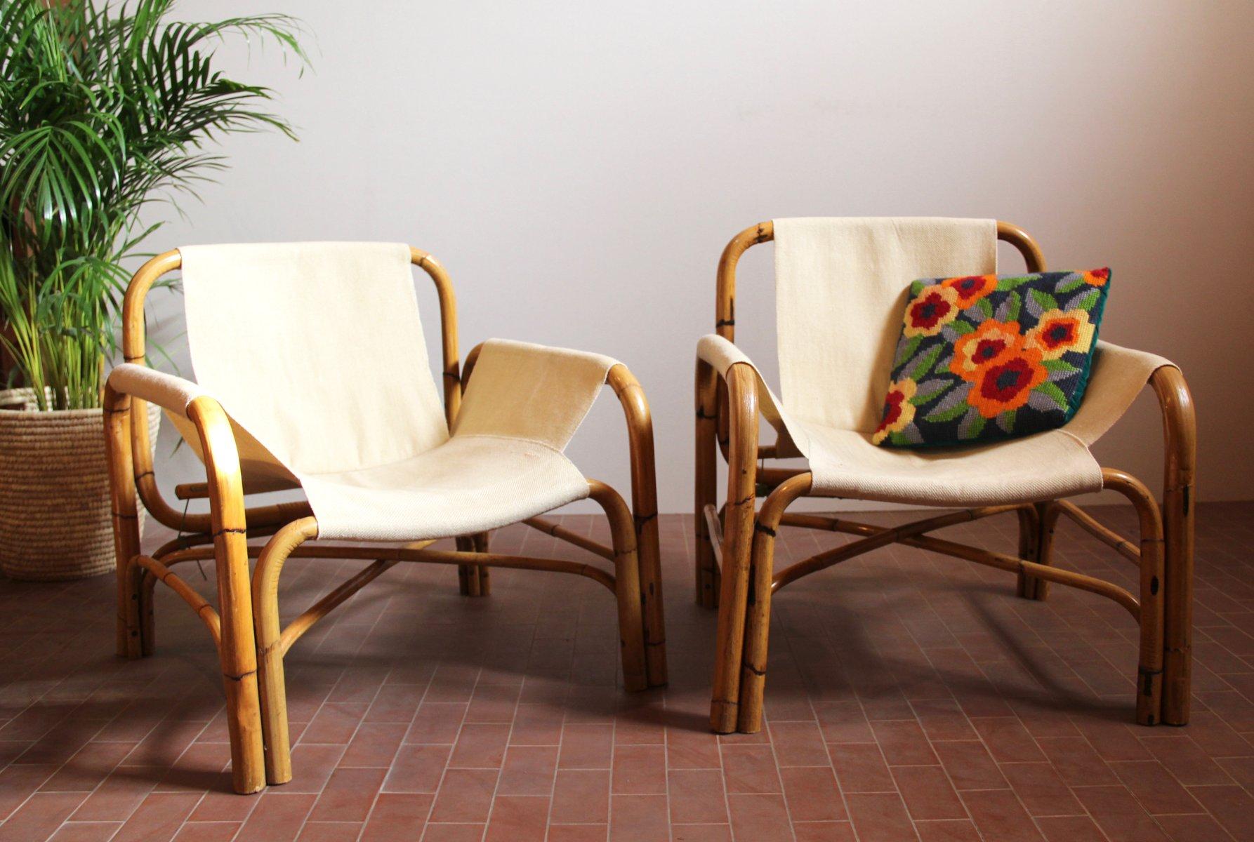 Sessel aus Bambus, 1970er, 2er Set