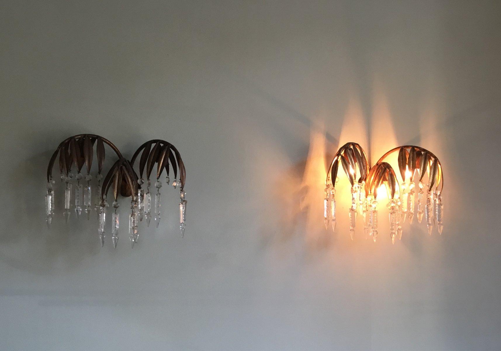 Französische Wandlampen von Maison Jansen, 2er Set