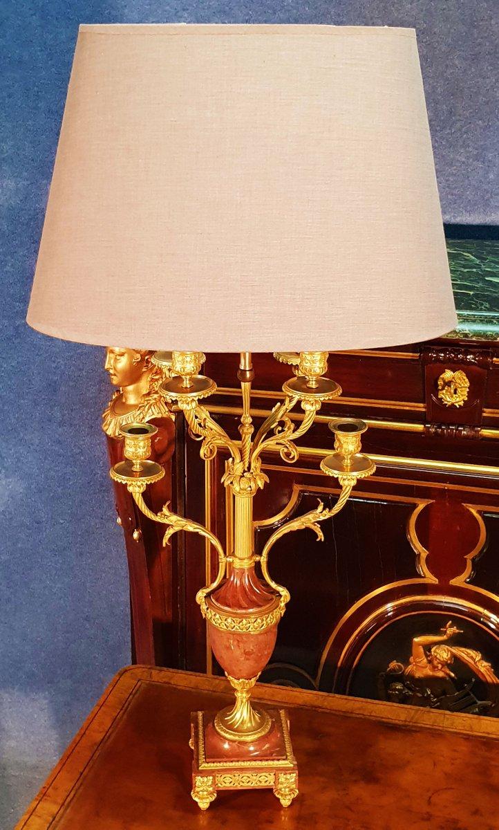 Lampada Da Tavolo Antica In Bronzo Dorato E Marmo In Vendita Su Pamono