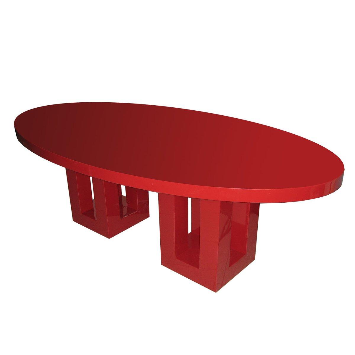 Tavolo Da Pranzo Grande Laccato Rosso Di Francois Champsaur Anni 90 In Vendita Su Pamono