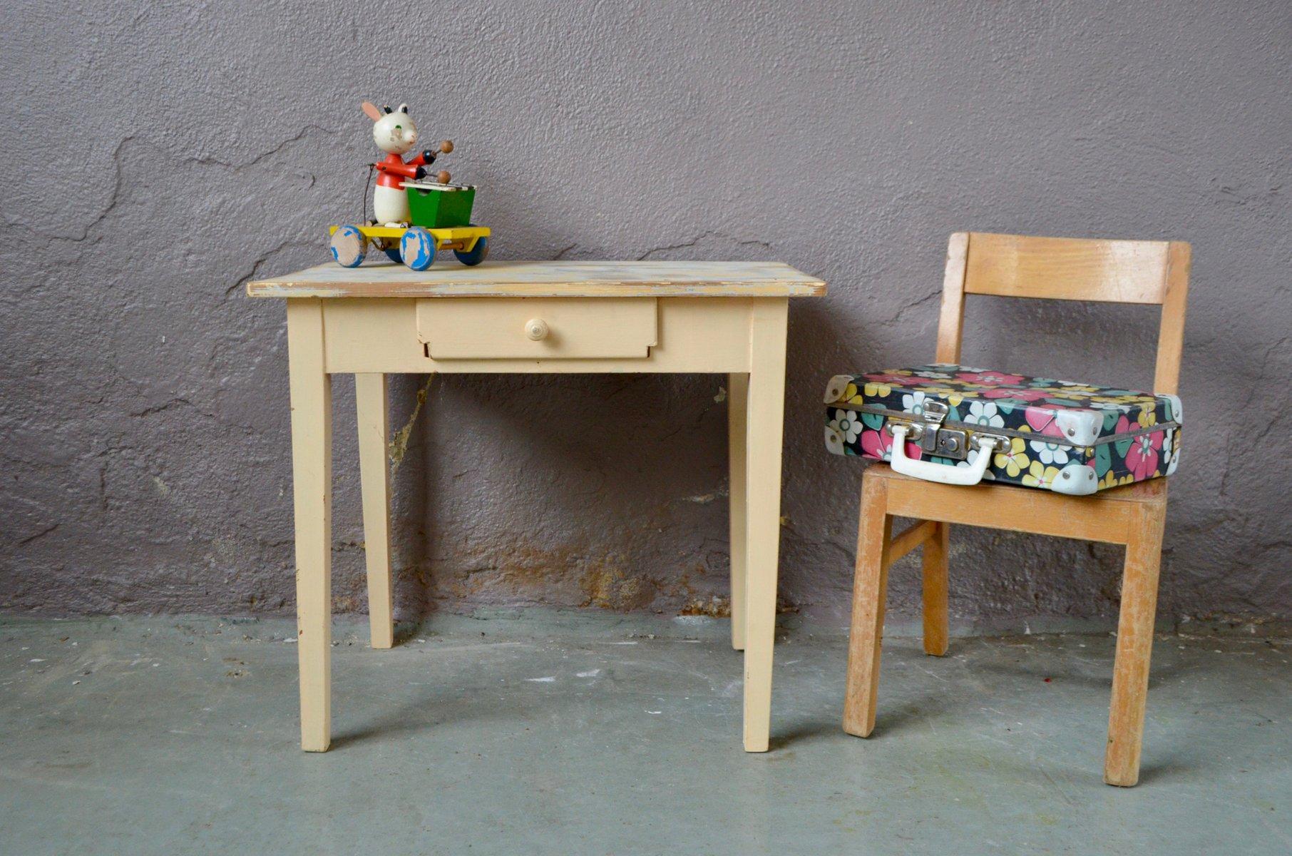Rustikaler Vintage Schreibtisch & Stuhl Für Kinder 1950er