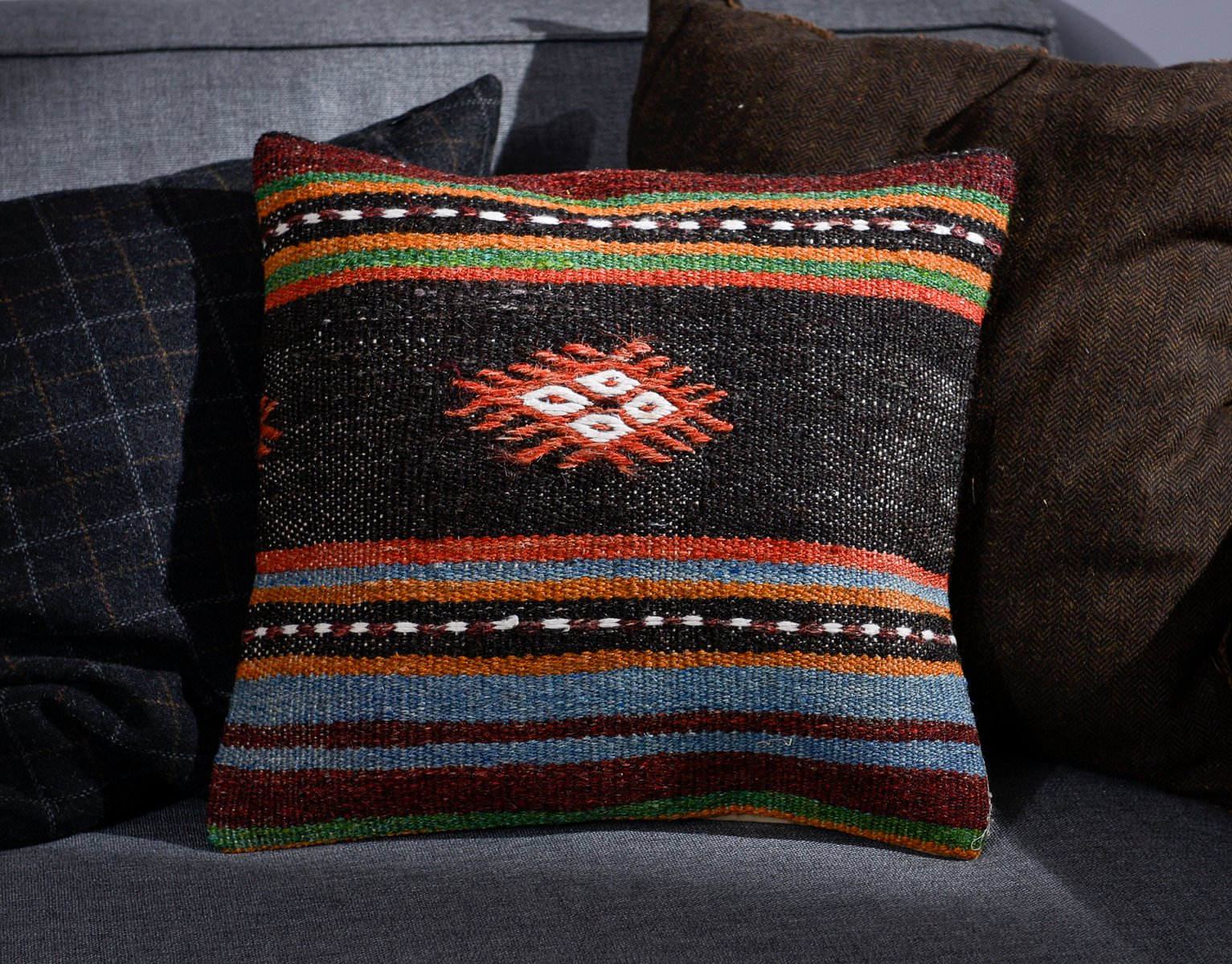 black blue orange wool cotton tribal kilim pillow cover by zencef