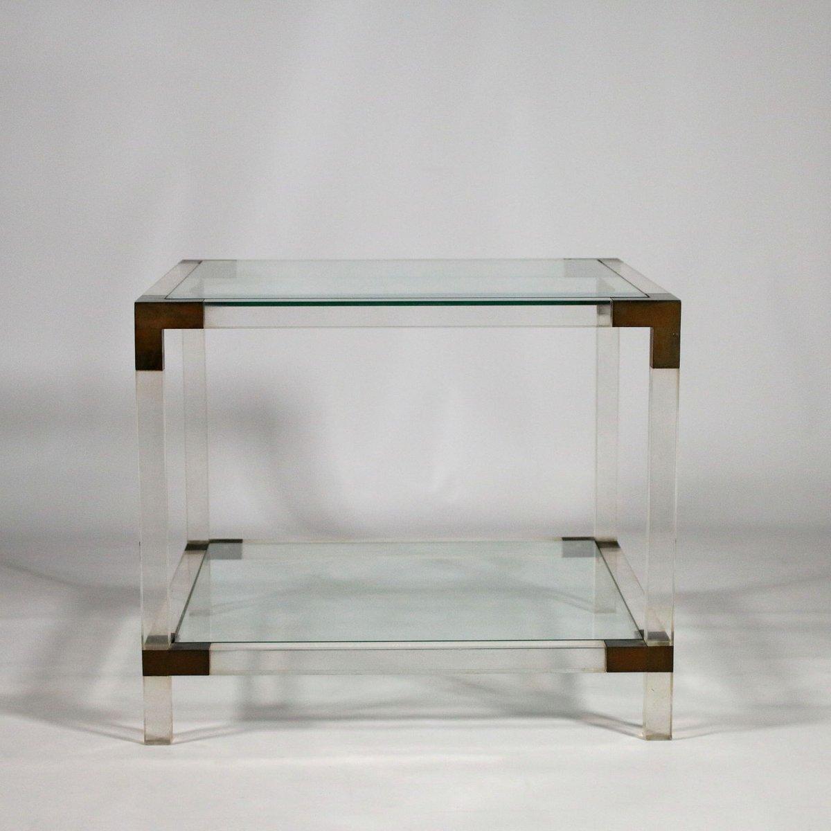 vintage plexiglas and brass coffee table