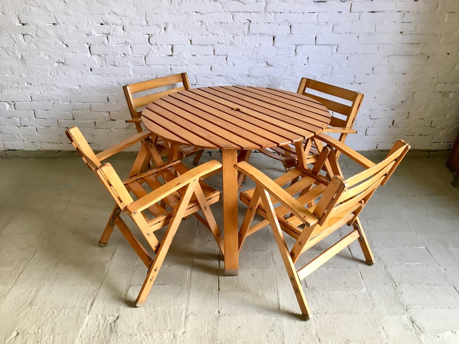 Tavolo Da Giardino Con Sedie Di Fratelli Reguitti Anni 60 In Vendita Su Pamono
