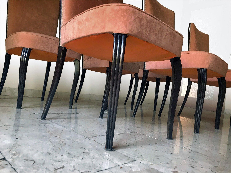 Italienischer Mid Century Esstisch & Stühle Aus Palisander