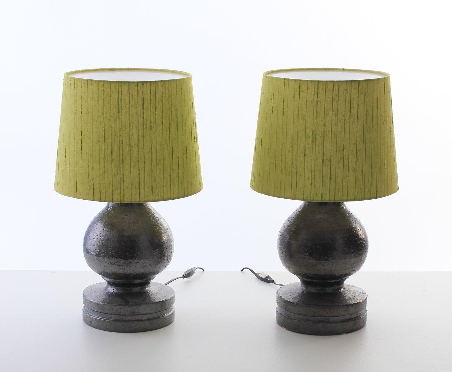 Lampade Da Tavolo Moderne In Ceramica E Seta Di Bitossi Per Luxus Scandinavia Anni 60 Set Di 2 In Vendita Su Pamono