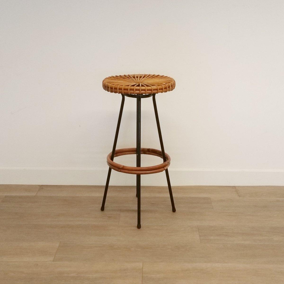 runde barhocker aus rattan von roh noordwolde 1960er 4er set bei pamono kaufen