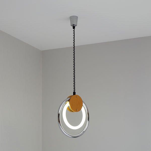Vintage Pendelleuchte mit Kreisförmiger Leuchtstoffröhre