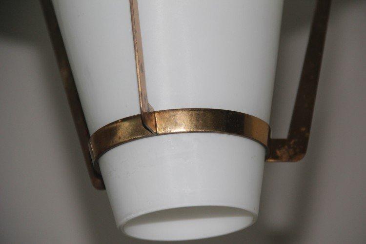 Lampada da soffitto da design di Stilnovo in ottone e vetro in vendita su Pamono