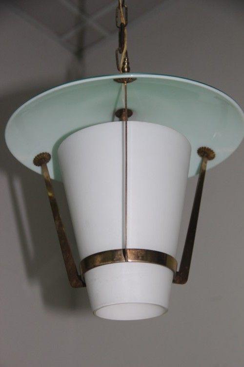 Lampada Da Soffitto Da Design Di Stilnovo In Ottone E Vetro In