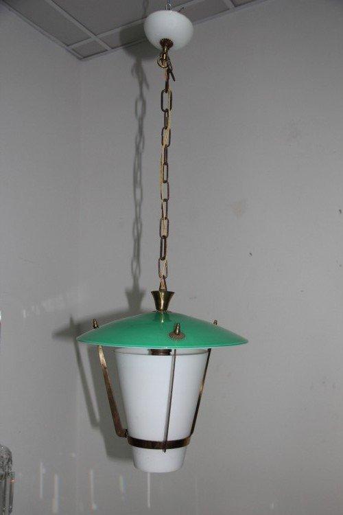 Deckenlampe im Stilnovo Design aus Glas & Messing
