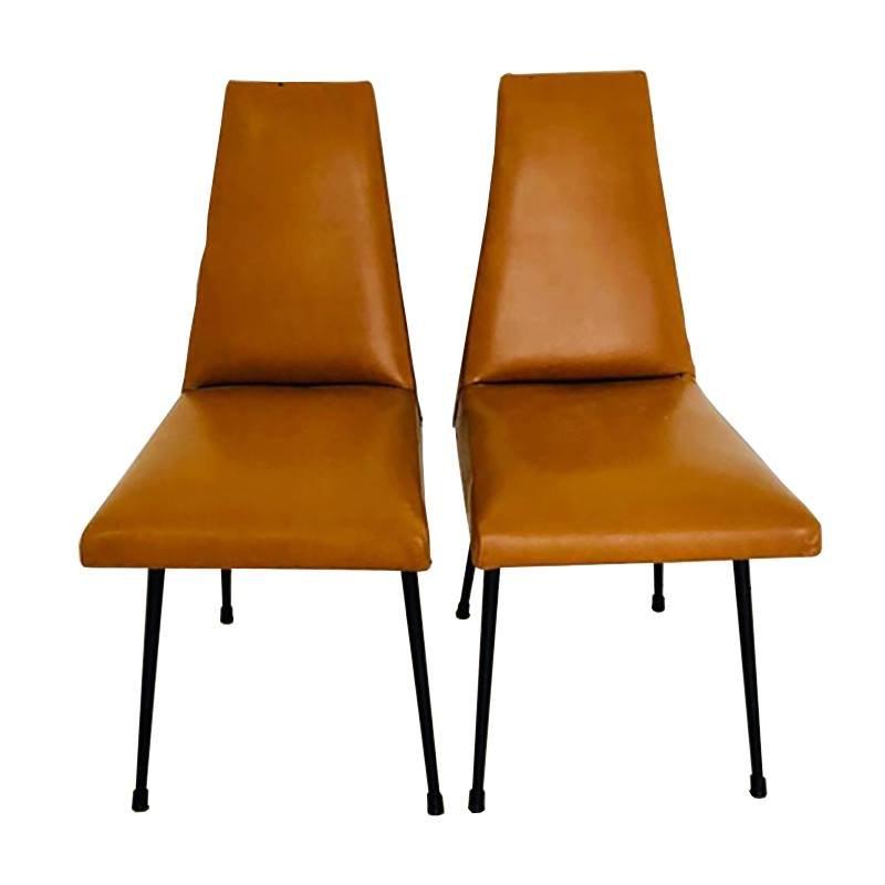 Sedie da scrivania vintage in similpelle marrone e metallo ...
