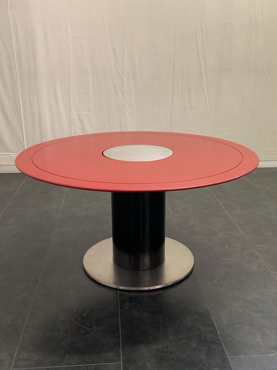 Black And Red Lacquered Metal Dining Table 1970s For Sale At Pamono
