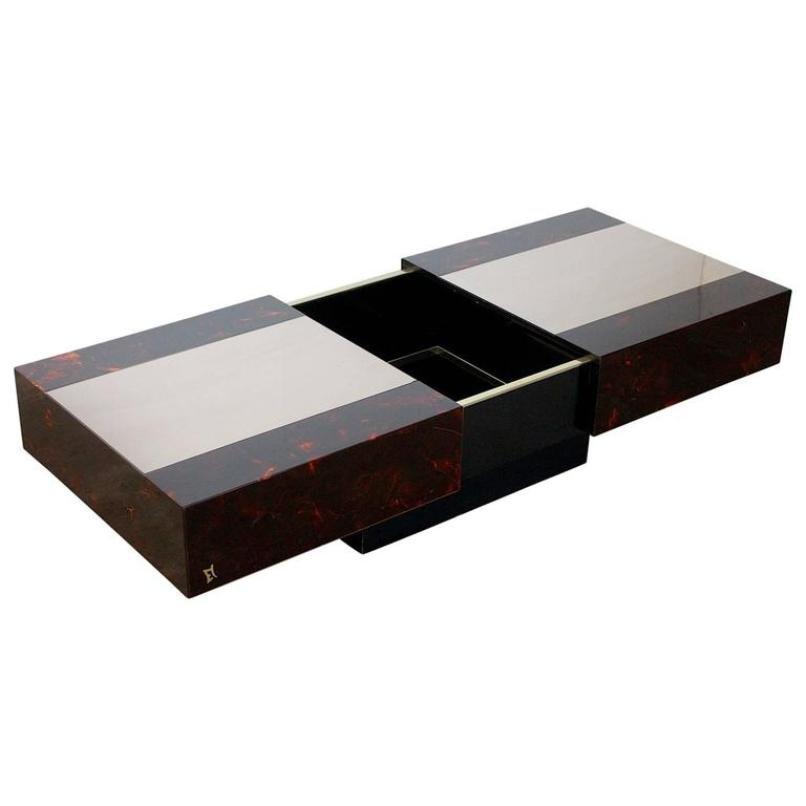table basse vintage avec range bouteille par mahey. Black Bedroom Furniture Sets. Home Design Ideas