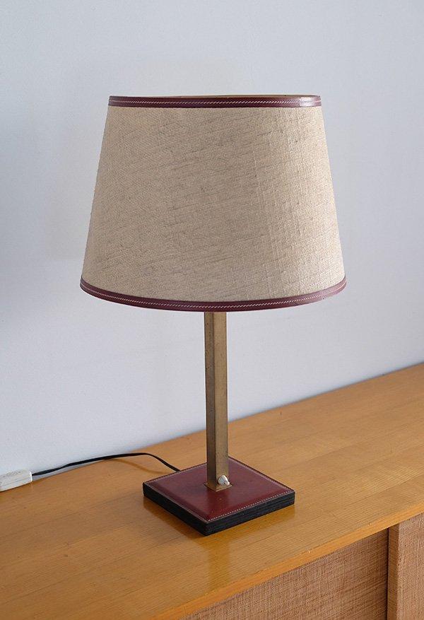 Lederbesetzte Tischlampe von Delvaux, 1960