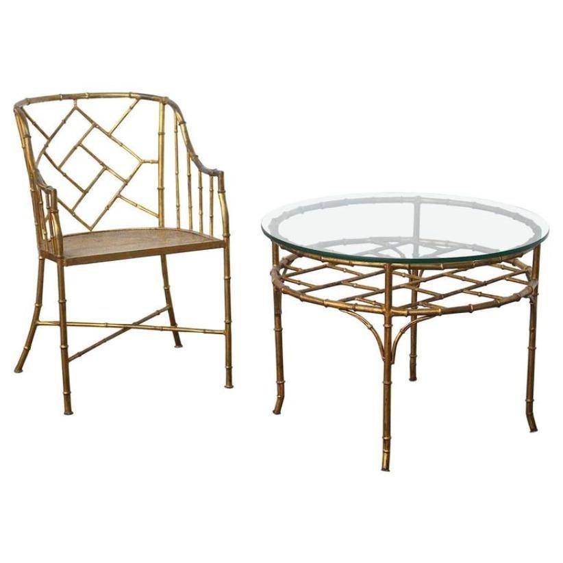 Französischer Vintage Tisch Stuhl In Bambus Optik Bei Pamono Kaufen