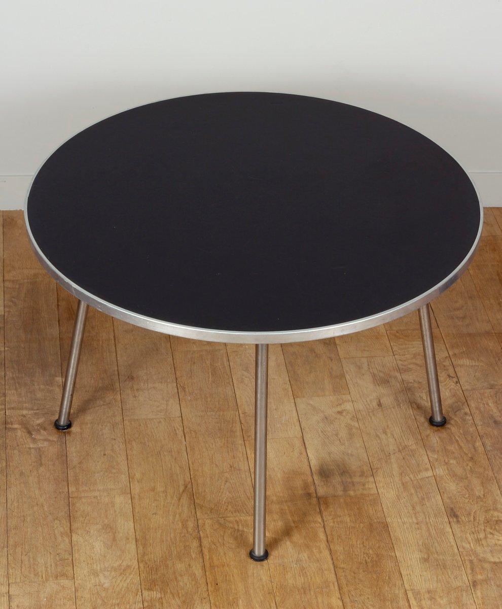 Runder Holz und Metall Tisch von Gispen, 1960er