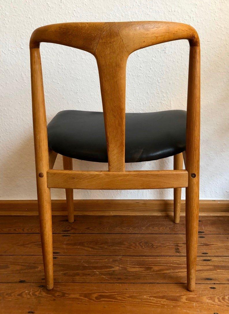 Chaise De Salle à Manger En Chêne Et Cuir Noir, Danemark