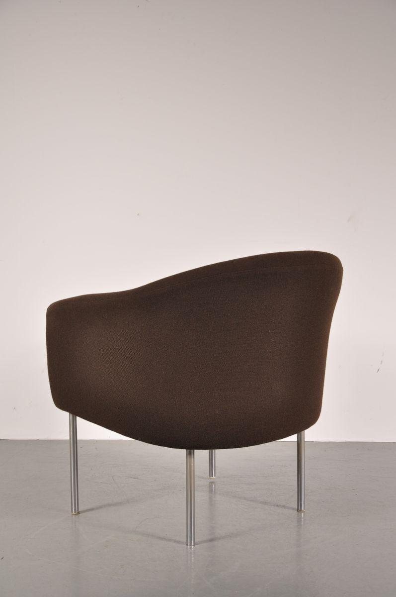 fauteuil avec tissu d 39 ameublement en laine brune et orange par kho liang le pour artifort 1960s. Black Bedroom Furniture Sets. Home Design Ideas