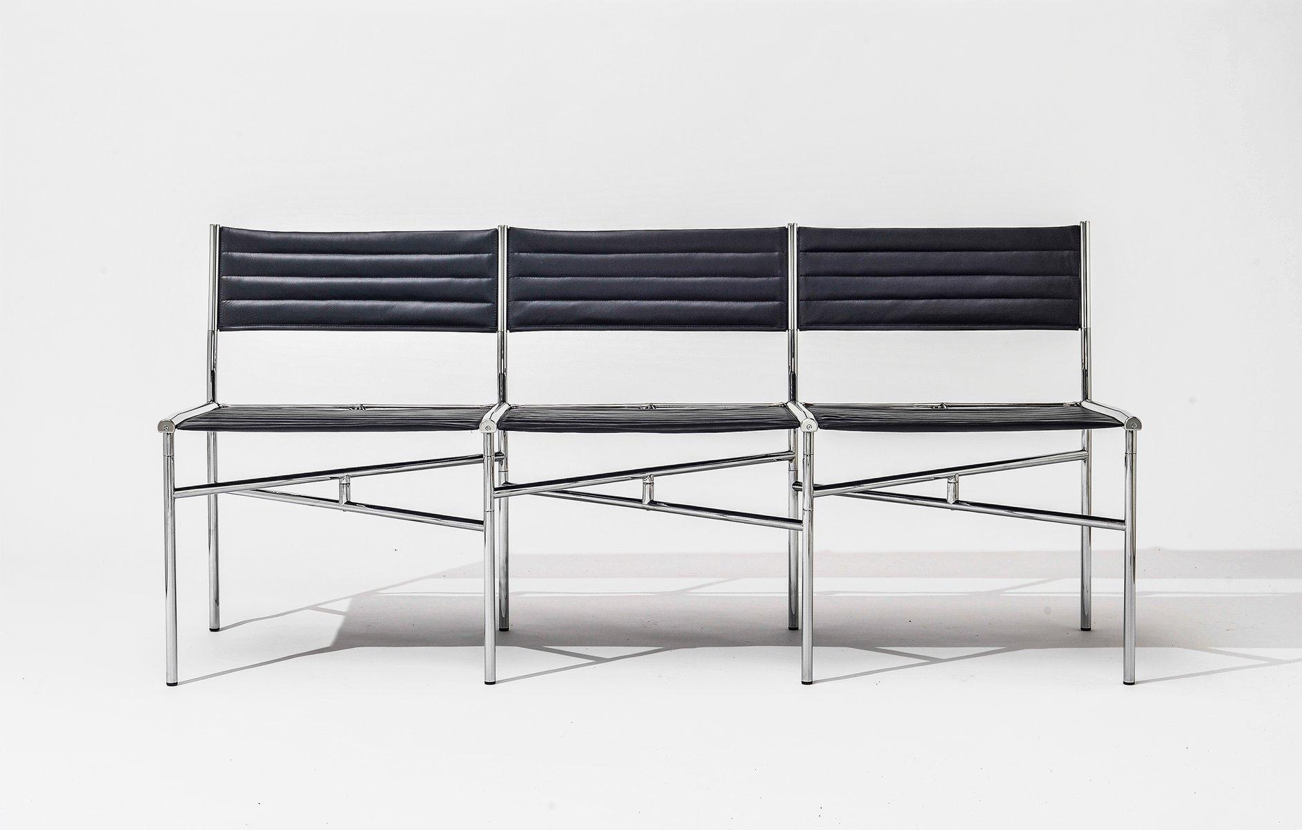 Contemporary Leder Meeting Chairs, 3er Set