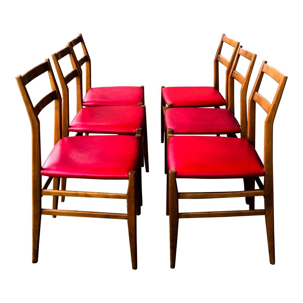 Sedie da pranzo Leggera in frassino e similpelle rossa di ...