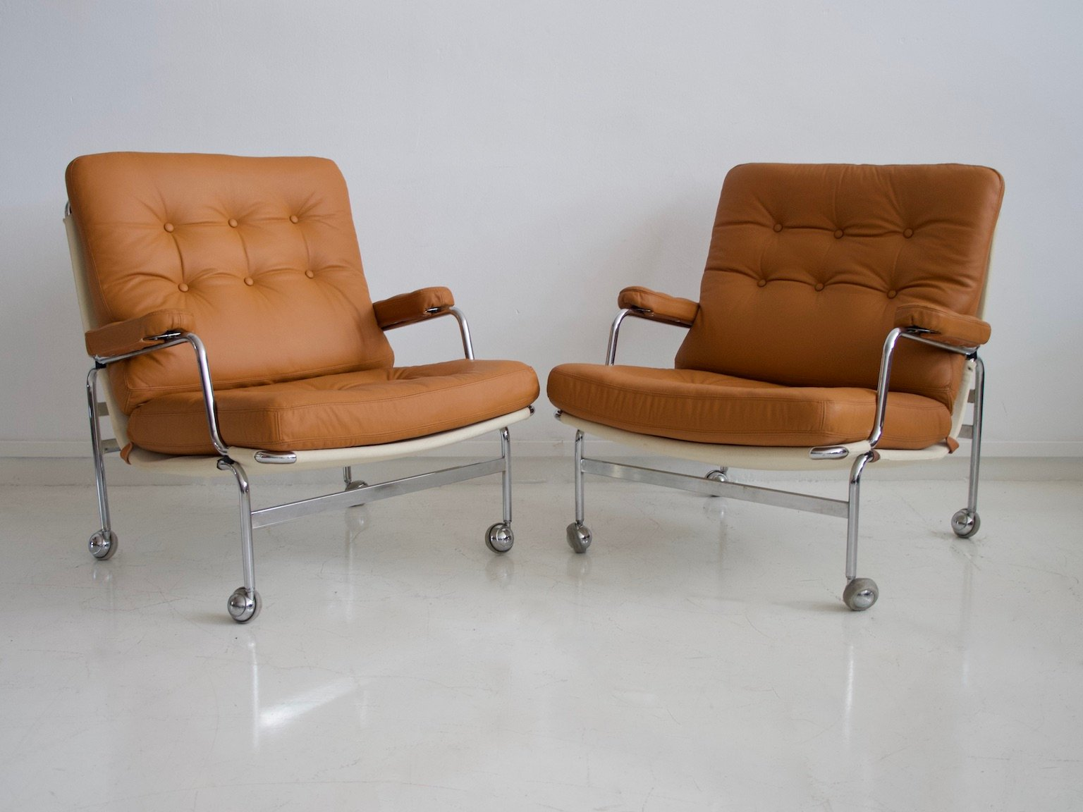 2er SET 60er Jahre Stuhl Lehnstuhl mit Armlehnen Easy chair Sessel mad men style