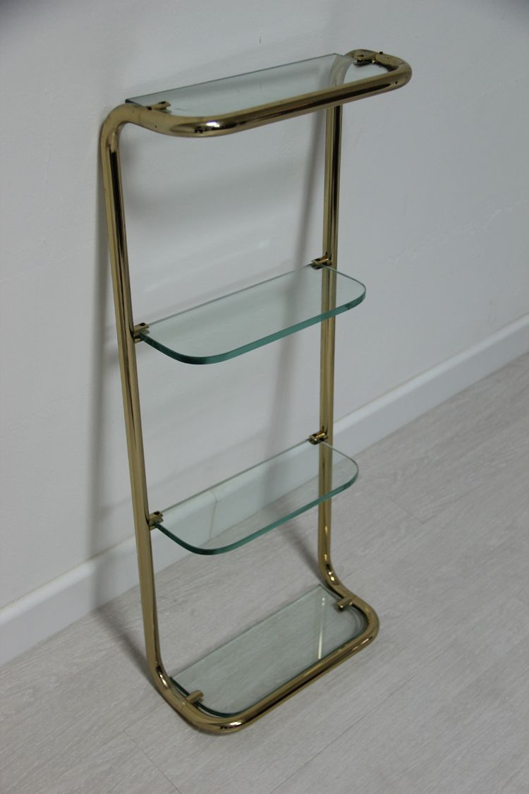 Italian Gilded Brass & Glass Shelf for sale at Pamono