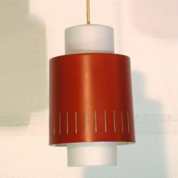 Rot-Weiße Deutsche Hängeleuchte von Staff Leuchten, 1960er