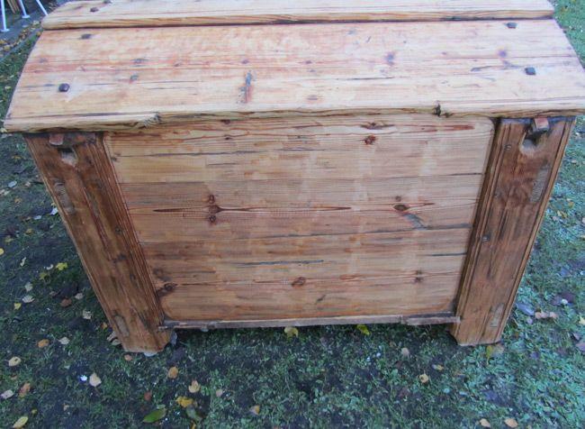 grand coffre de rangement antique en bois de pin en vente sur pamono. Black Bedroom Furniture Sets. Home Design Ideas