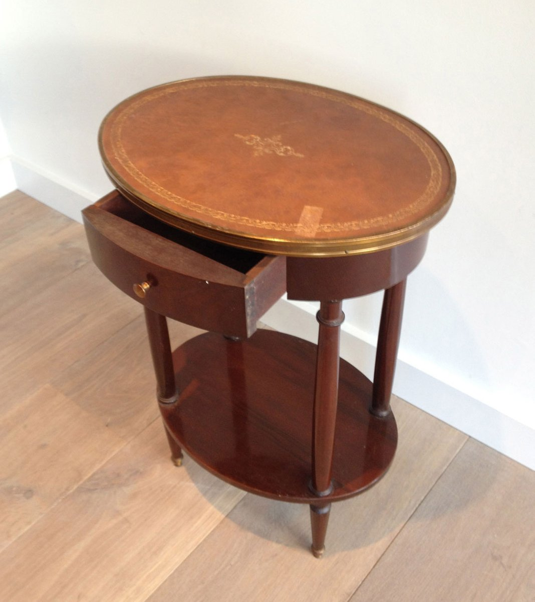 Small Oval Table With Leather Top