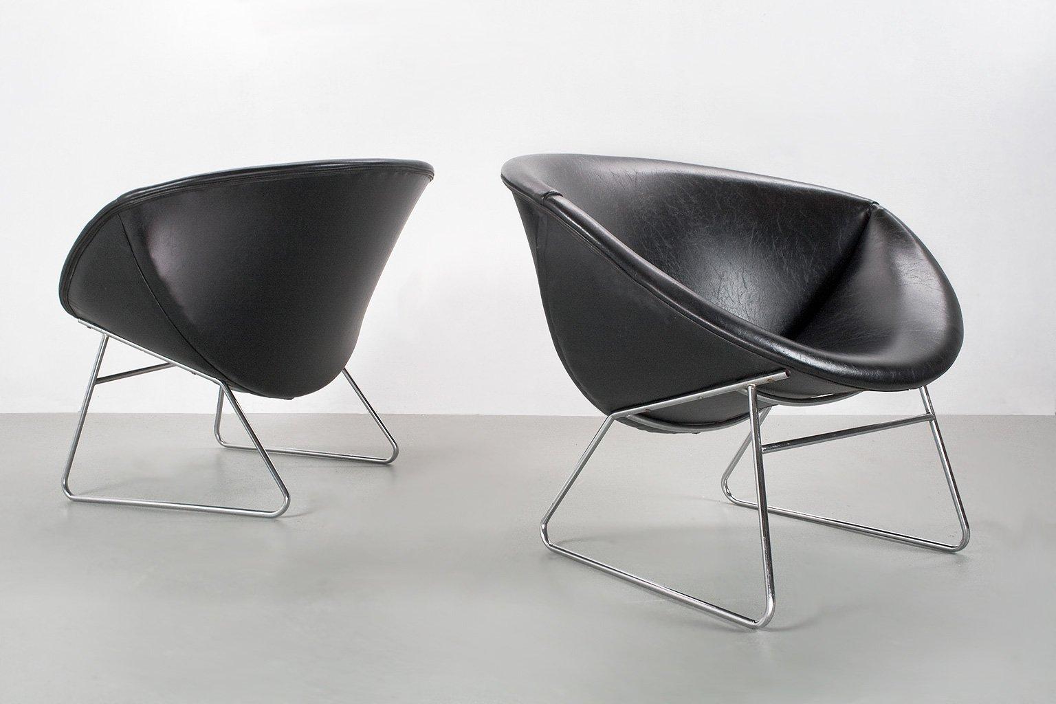 Sessel in Kunstleder von Rudolf Wolf für Rohé Noordwolde, 1950er