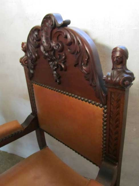 Antique Carved Wood & Leather Throne Chair - Antique Carved Wood & Leather Throne Chair For Sale At Pamono