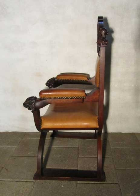 Antique Carved Wood Amp Leather Throne Chair For Sale At Pamono