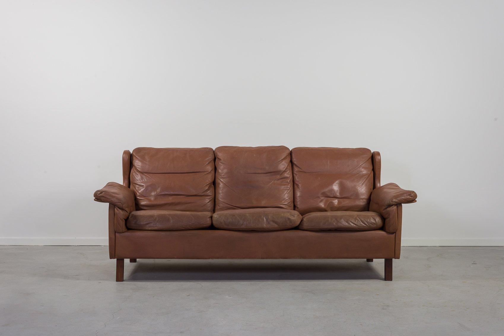 Mid Century Danish Cognac Leather 12 Seater Sofa