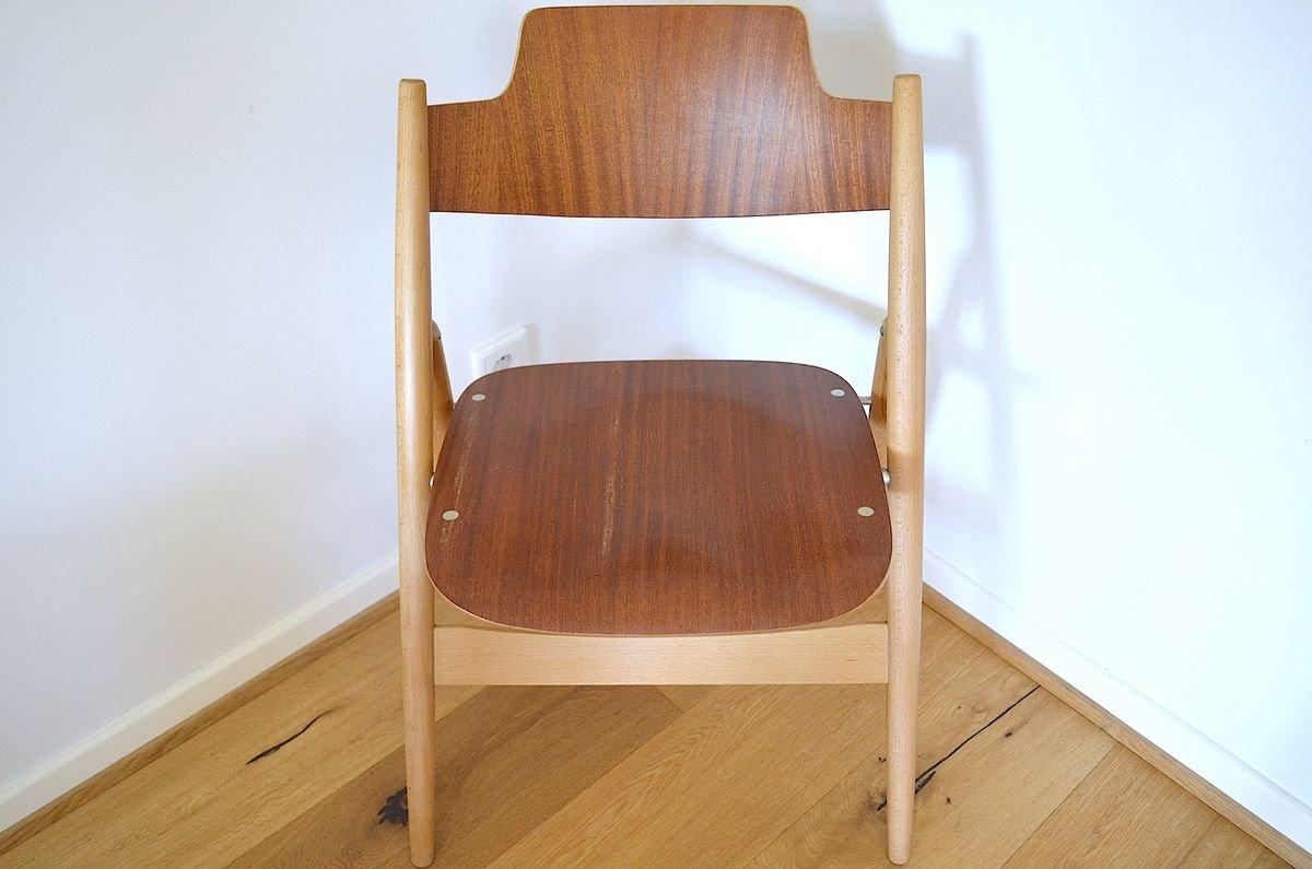 Beech Teak Se18 Folding Chairs By Egon Eiermann For Wilde Spieth 1950s Set Of 4 For Sale At Pamono