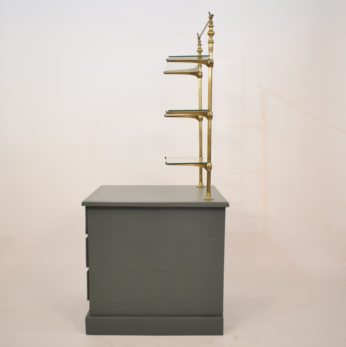 Shelf for purchases with 3 Black Metal Floor 73cm
