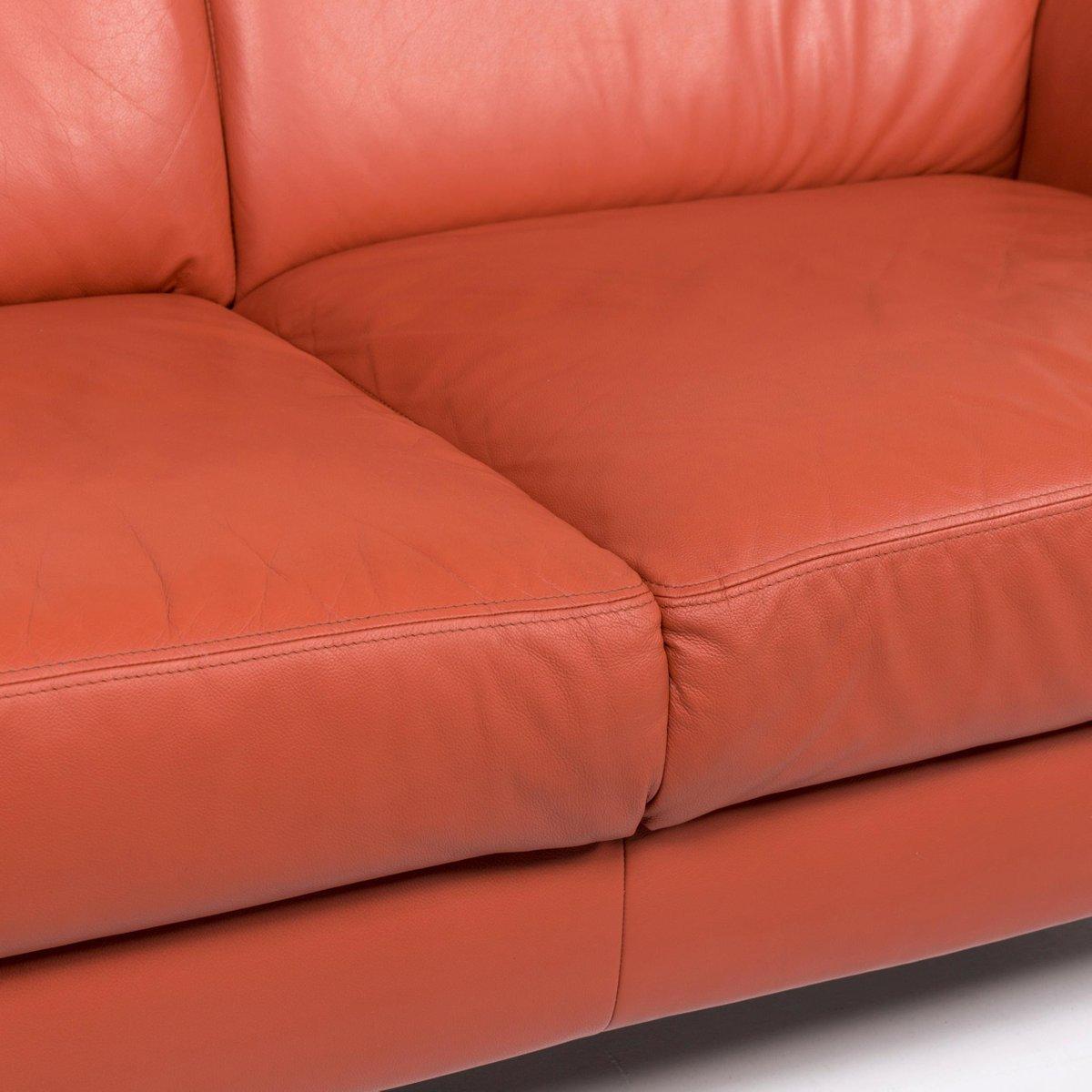 Ring Terracotta Leather 2 Seat Sofa