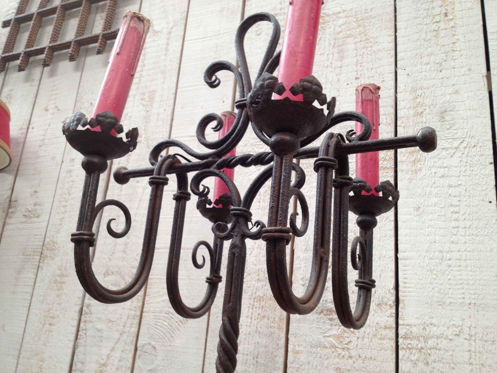 Lampe de bureau en fer forgé en vente sur pamono