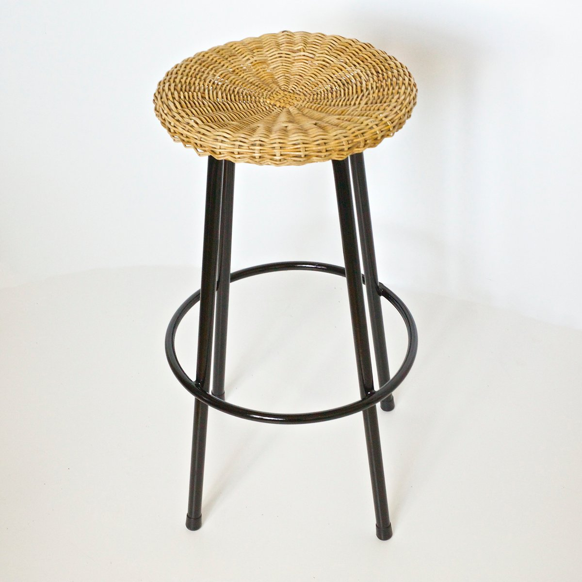 Vintage High Wicker Bar Stool From Rohe Noordwolde 1950s
