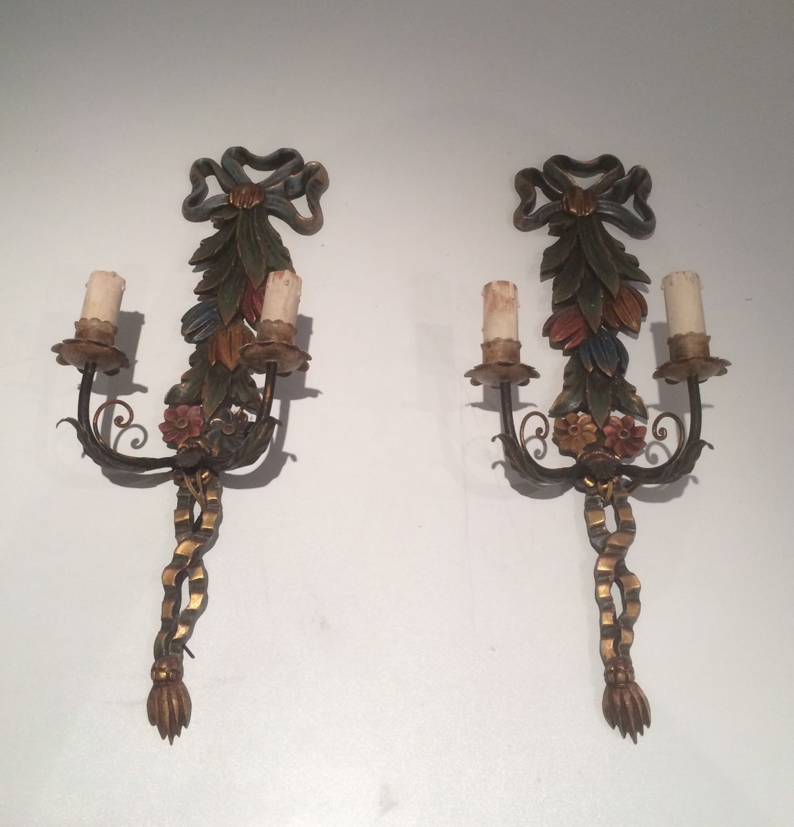 Italian Wooden Wall Sconces, Set of 2