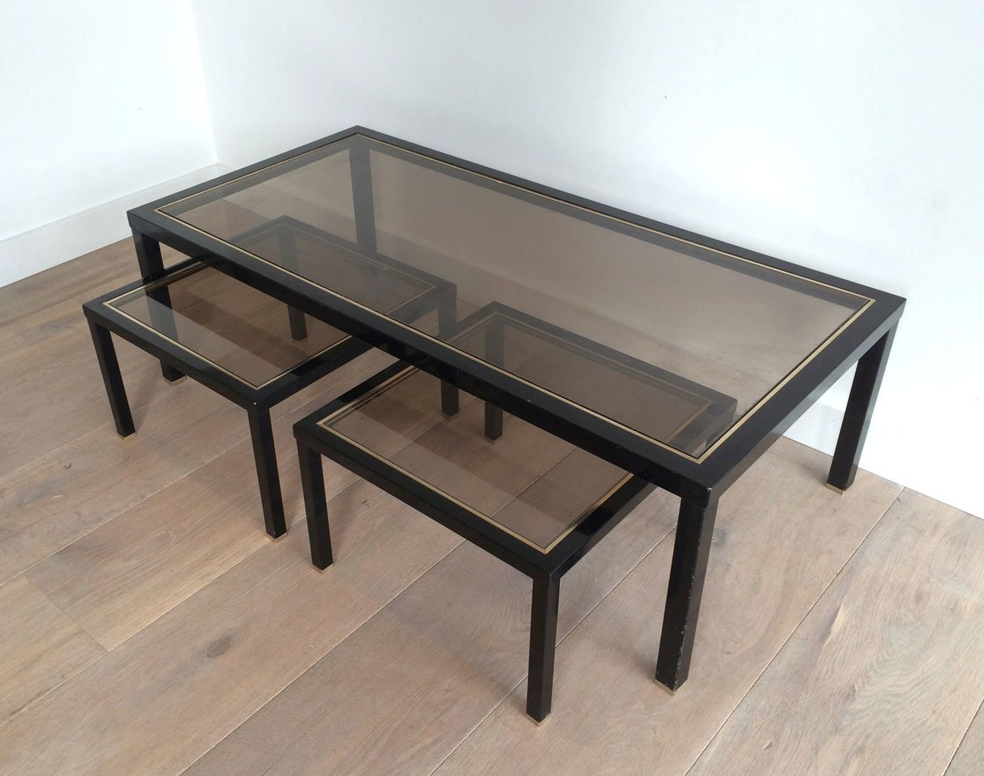 Brass Coffee Table With Pair Of Side Tables, Set Of 3 For