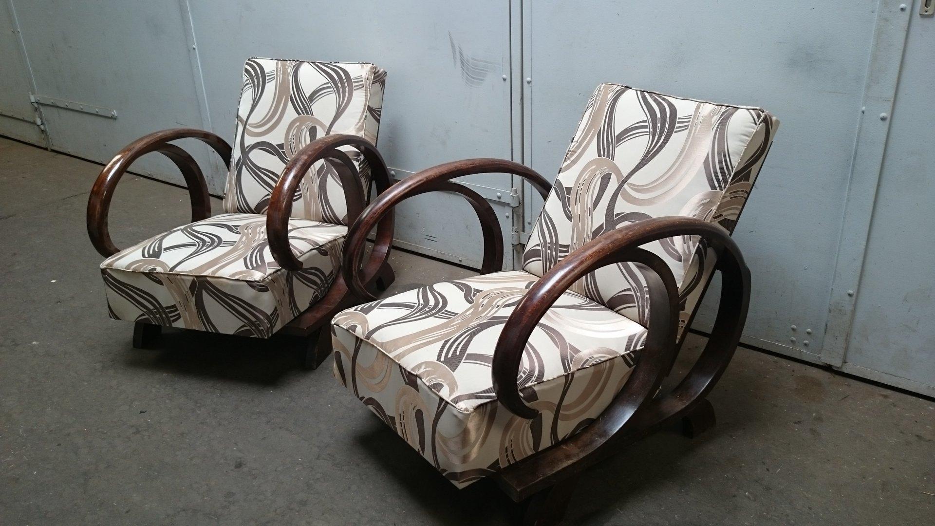 Verstellbare Art Deco Sessel, 2er Set